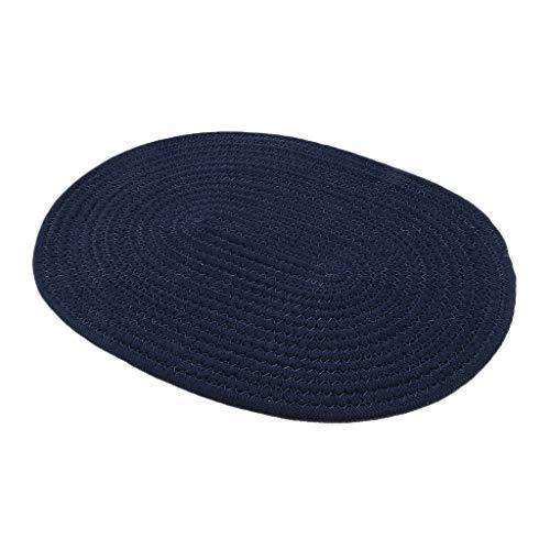 oshhni Mantel Individual de Redonda de Algodón Trenzado de 30 * 40 Cm Estera Aislante Térmica Azul Oscuro