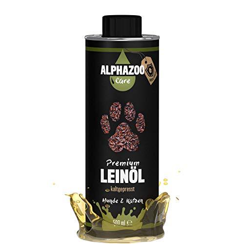 alphazoo Premium Leinöl für Hunde & Katzen | kaltgepresstes Leinöl | reich an Omega-3 & 6-Fettsäuren | recyclebare Weißblechdose one BPA | natürlicher Energielieferant für Herz & Kreislauf