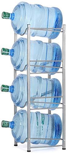 Liheya Recipiente enfriador de agua con 4 niveles y 5 galones para almacenamiento de botellas de agua para oficina, estante de almacenamiento en la cocina, compacto plateado