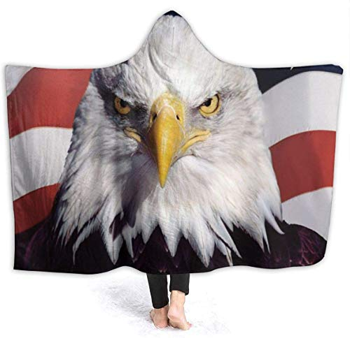 American Flag Eagle Hooded Blanket Luxury Velvet Wrap Blanket Super Soft Cozy Warm Nap Blanket Throw Poncho for Living Room Bedroom Dorm-Black