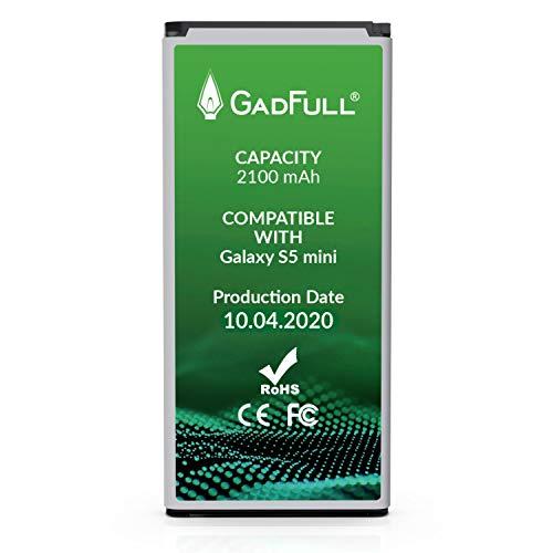 GadFull Batteria compatibile con Samsung Galaxy S5 mini | 2020 Data di produzione | Corrisponde al EB-BG800BBE originale | Compatibile con Galaxy S5 mini SM-G800F | Duos SM-G800H