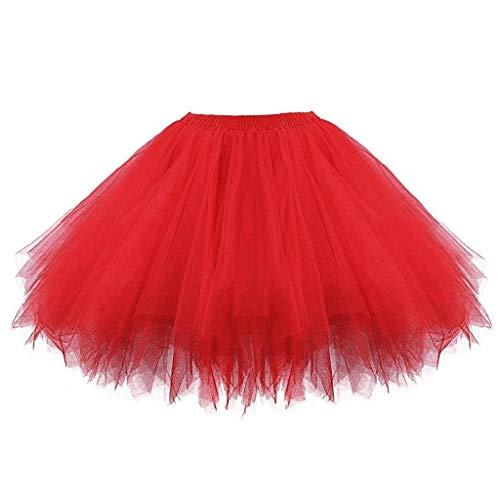 Falda para niñas de 0 a 10 años de edad, falda tutú elástica sólida tutú falda vestido de ballet para niños de 2 a 8 años (rojo)