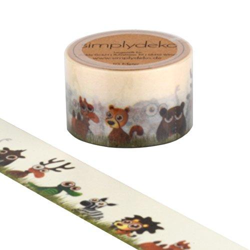 Simplydeko Washi Tape - Masking Tape 30 mm breit - Wundervolles Washitape Bastel-Klebeband aus Reispapier - Kinder Tierbande