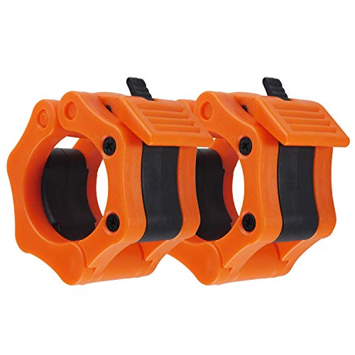 Top Souls Quick Release Pair of Locking 2' Olympic Size Barbell Clamp Collar for Workout Weightlifting Fitness Training (Orange)