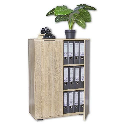 mutatio Kommode - Mehrzweckschrank - Aktenschrank - [Optimal Für Schwere Ordner] Büromöbel - Büroschrank - Schrank - Sonoma-Eiche, ca. B80,2cm x H109,5cm x T35cm | Aufbewahrungsschrank