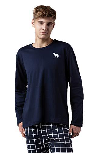 Pijama para hombre, a rayas, dos piezas, largo, de algodón, de manga larga, cuello redondo Tablero de Ajedrez Marine Blanco XL