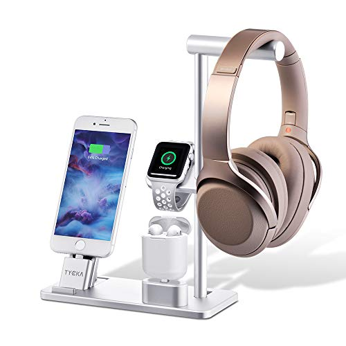 TYCKA Alluminio 4 in 1 Supporto di Ricarica per Apple, Stand per Apple Watch + Supporto per iPhone + AirPod Supporto di Ricarica + Supporto per Cuffie per Apple Watch Serie 3/2/1, iPhone X 8 iPad