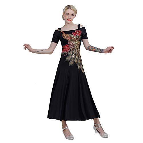 GXFXLP Professionelle Nationale Standard - Tanzkleider Für Damen Great Peacock Trading Dance Costume Costume Tango Walzer Ballsaal Salsa Kleid Tanzbekleidung,Schwarz,M