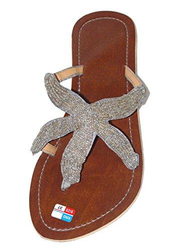 Damen Flip Sandale Star Zehentrenner Zehenpantolette Sommersandale Zehenstegsandale mit Perlen in schwarz, Creme, Silber/Gold