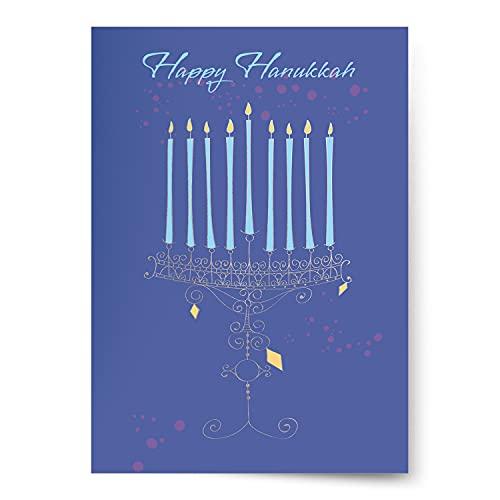 Designer Greetings Boxed Hanukkah Cards, Illustrative Classic Lit Menorah Design (Box of 18 Holographic Foil-Embossed Cards with Envelopes)