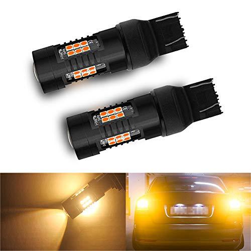paquete de dos bombillas LED T20 W21 / 5W Anaranjado 3000K Anti-error SUPERCANBUS ultra elaborado 7443 21smd 1200lm de muy alto nivel para luces de marcha atrás, luces de freno