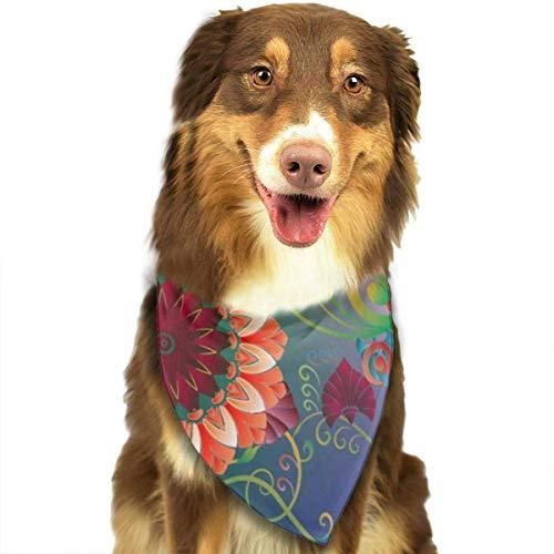 hgdfhfgd Hundeschal Buntes Blumenmuster im griechischen Stil Nahtloses Muster Haustier Bandanas Dreieck Lätzchen Verstellbares Kopftuch