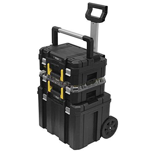 STANLEY FATMAX FMST1-80103 Conjunto PRO-STACK 3 piezas con cajas para herramientas, organizador y base con ruedas, Negro