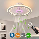 Ceiling Fans with Lighting 57W Modern Dimmable with Remote Control Invisible Fan LED