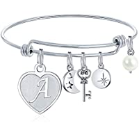 M Mooham Engraved 26 Letters Initial Charms Bracelet