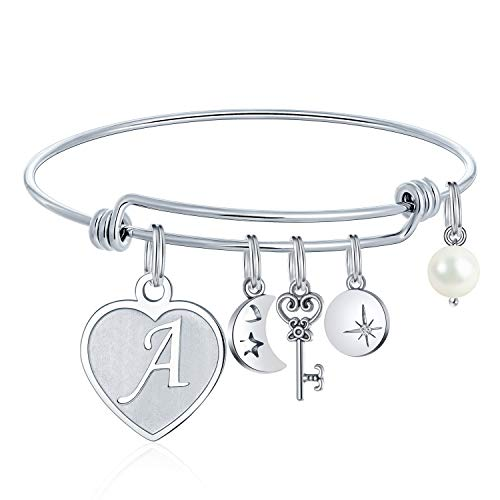 Heart Charm Bracelets For Women - Initial Charm Engraved Letter A Initial Bracelet Stainless Steel Expandable Charms Bangle Bracelets Birthday Jewelry Gifts for Women Teen Girls Bridesmaids Gifts