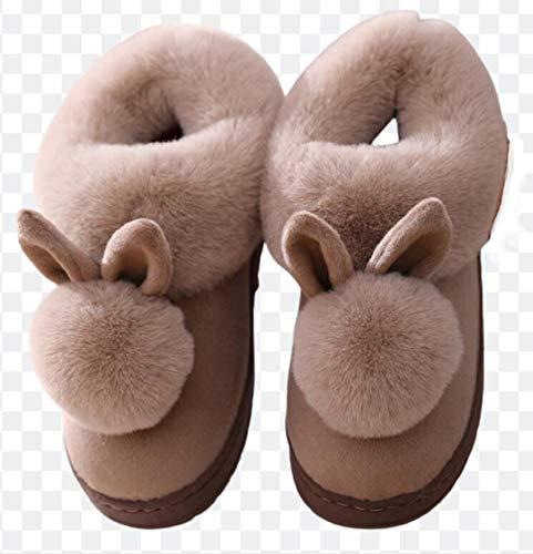 ZYLL Bunny Slippers Otoño Invierno Zapatillas de algodón Conejo Oreja Inicio Zapatillas...