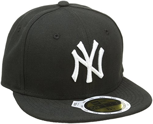 New Era Kinder Baseball Mütze Mlb Basic NY Yankees 59Fifty Fitted, Schwarz (Black/White), 6 1/2