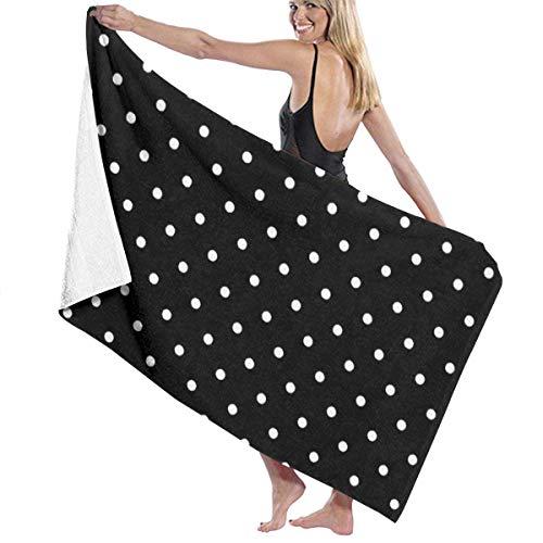 HRHRTJKTJ - Toalla de playa con lunares blancos y negros, toalla de baño de gran tamaño, toalla de playa de secado rápido, toalla de playa de 31.5 x 51.2 pulgadas