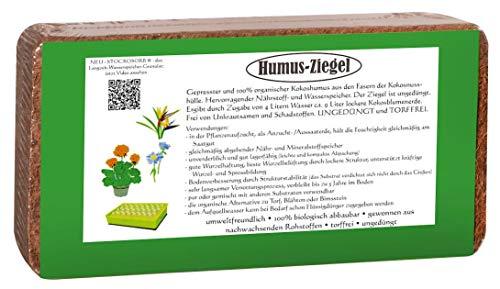 Humusziegel - Kokoserde gepresste Blumenerde aus Kokosfaser 10 x 650g - 90 L