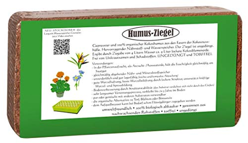 Humusziegel 10 x 650g - 90 L Kokoserde - gepresste Blumenerde aus Kokosfaser