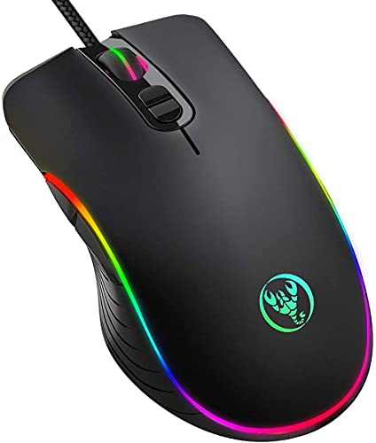 Wired Gaming Mouse, KKUYI Ergonomic Mouse 7 RGB Backlit Modes, 7 Programmable Buttons 6400 DPI PC Gaming Mice for Laptop Computer MacBook