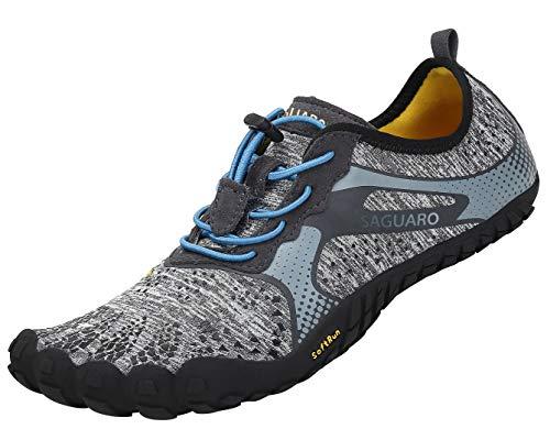 SAGUARO Hombre Mujer Minimalistas Zapatillas de Deporte Trail Running Calzado Caminar Cómodas Senderismo Ciclismo Ligeras Deportivas Andar Trekking Montaña Agua Exterior Interior(Gris, 42 EU)