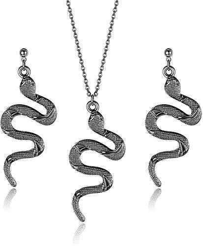 Adramata Juego De Collar y Pendientes De Serpiente para Mujer, Pendientes Colgantes De Serpiente Personalizados Geniales, Pendientes De Serpiente, Conjunto De Collar, Plateado Dorado, Tono Negro