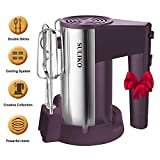 Electric Hand Mixer, Suliko Stainless Steel Mixer Electric 200W 5 Different Speed Settings and Turbo Button with Sturdy Beaters and Dough Hooks (Purple)