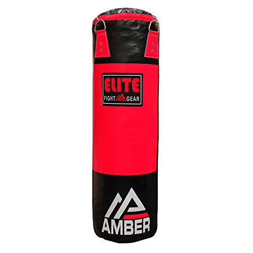 Amber Fight Gear Elite Strikeforce Heavybag Boxing Muay Kickboxing Thai MMA Fitness Workout Training Kicking Punching Filled Heavy Bags -Red/Black -200lb