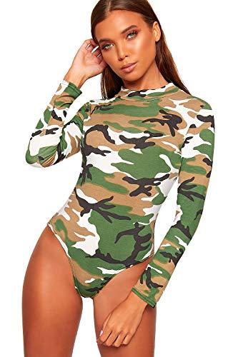 WearAll - Damen Rollkragen Lang Hülle Tier Camo Schottenkaro Druck Bodysuit Damen Trikot - Camouflage - 48-50
