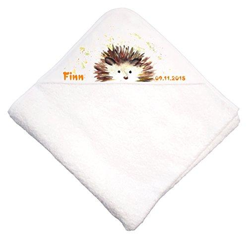 *Nashville print factory Baby Kapuzenhandtuch Kapuzentuch Handtuch mit Kapuze Babybadetuch Hooded Towel Decke Babydecke| Bedruckt mit Namen (Igel)*