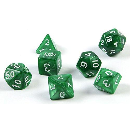 shibby 7 polyedrische Würfel für Rollen- und Tabletopspiele in grün mit Beutel 60014265