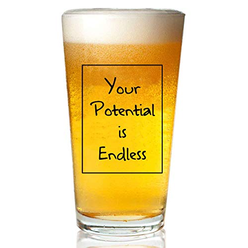 Your Potential is Endless Customizable Highball Glasses Lead-Free Crystal Clear Glass for Water, Wine, Beer, Cocktails and Mixed Drinks 16 oz