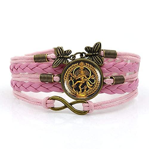 Pulsera tejida, Cuerda rosa, Figura de oro de la India Shiva Nacional, Tiempo Pulsera de piedras preciosas Multi-capa Mano tejida de cristal Joyería de la joyería de las señoras de la moda de la joyer