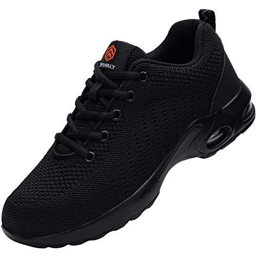scarpe antinfortunistica memory foam Scarpe Antinfortunistiche Donna Leggere Scarpe da Lavoro con Punta in Acciaio Sportive di Sicurezza Scarpe Antinfortunistica da Cuscino (Nero