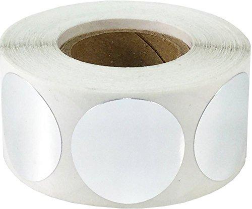 Plata Metálica Pegatinas Circulares, 25 mm 1 Pulgadas Etiquetas de Puntos Brillantes 500 Paquete