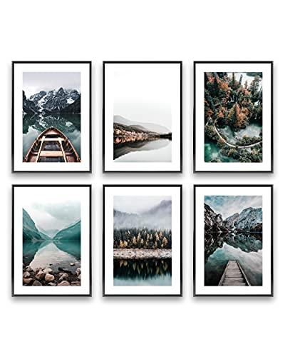 Heimlich® Tableau Décoration Murale - sans Cadres -Set de Poster Premium pour la Maison, Bureau, Salon, Chambre, Cuisine -  6 pièces en DIN A3 (30x42cm)   » Lac de la Forêt «