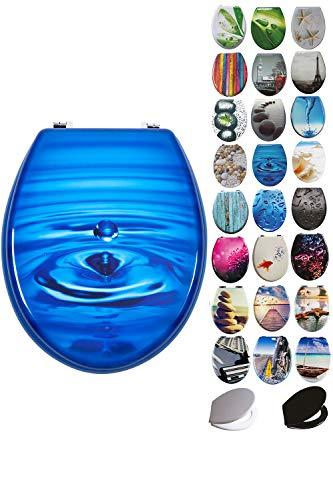 Grafner® MDF WC Sitz mit Absenkautomatik viele schöne Motive zur Auswahl - stabile Qualität - einfache Monatge WC Deckel Klobrille Softcolse (Blue Drop)