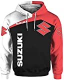 Suz-UK-i 2021 - Sudadera con capucha para hombre, impresión 3D con logotipo de coche, sudadera de deporte, sudadera de moto, chaqueta de calle con capucha, color negro Negro XXX-Large