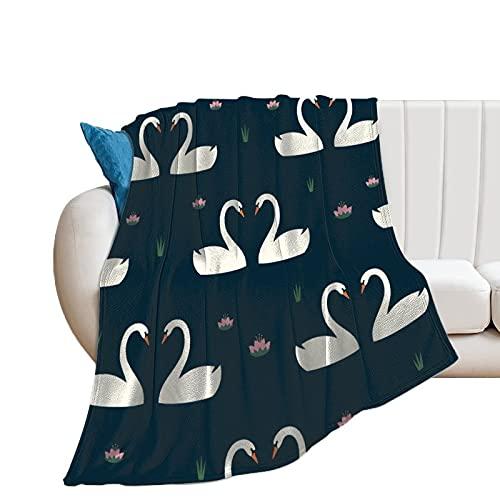 Flauschige Kuscheldecke Weiße Schwäne In Der Liebe Und Seerose Tagesdecke Oder Wohnzimmerdecke 40
