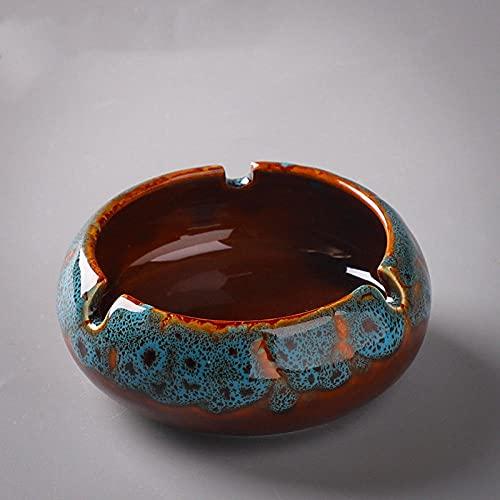 Cenicero-azul-cenicero-azul-cenicero de la oficina en casa de la sala de estar multifunción de cerámica retro europea 10.8 * 4cm