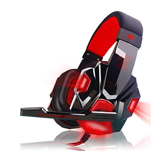 Gasgff Control Remoto por Voz del micrófono para Auriculares con Gancho para la Oreja PS4 con micrófono y Luces LED