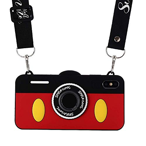 iPhone XR Case with Lanyard, Shinymore 3D Cute Soft Silicone Cartoon Mickey Mouse Camera Design Case with Ring Holder for iPhone XR