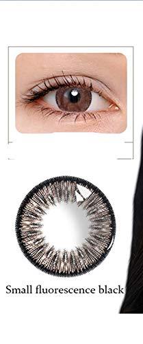 HOWWO Kontaktlinsen Farbige Sommer Fluoreszierende Serie Schöne Schüler Lenses Dia 14.5mm for Partei-Augenkosmetik, 0.00 Dioptrien (Farbe : Schwarz, Größe : 0)