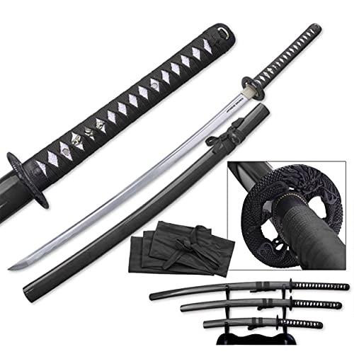 Katana Wakizashi Tanto EIN Satz Schwerter Mit einem Stand scharf echt zum Training Metall Stahl 1045 Samurai 100% handgefertigt Nur für Erwachsene - 18 Jahre erforderlich 9KM3-3PCBK