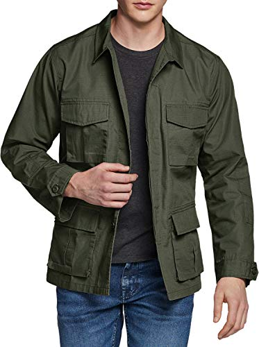 CQR CLSL Men's Casual Military Jacket, Water Repellent Field Army Jackets, Outdoor Ripstop Utility Jackets, BDU Jacket(ubk01) - Green, Small