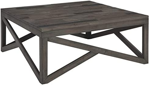 Best Signature Design by Ashley - Haroflyn Rustic Square Cocktail Table, Gray