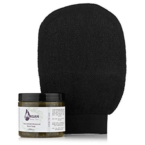 Sapone nero esfoliante marocchino e guanto Kessa/Biologico/Vegano/Naturale/Migliore esfoliazione della pelle / 200g