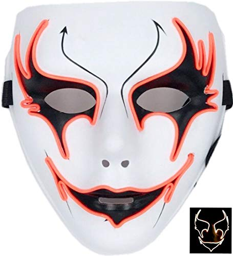 Leisurely Lazy EL Wire Mask Light Up Cool Christmas Halloween Birthday Cosplay Grimace Festival Party Show Masks (Orange)